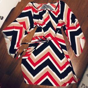 Tacera Chevron 3/4 Sleeve Dress